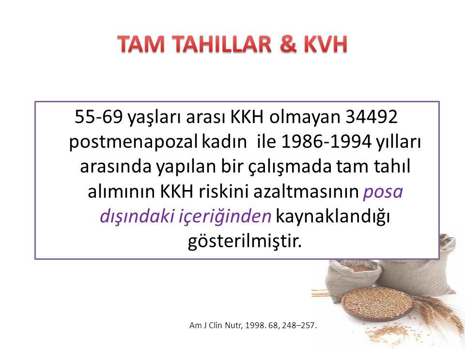 55-69 yaşları arası KKH olmayan 34492 postmenapozal kadın ile 1986-1994 yılları arasında yapılan bir çalışmada tam tahıl alımının KKH riskini azaltmas