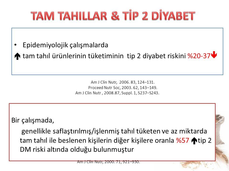 Epidemiyolojik çalışmalarda  tam tahıl ürünlerinin tüketiminin tip 2 diyabet riskini %20-37  Am J Clin Nutr, 2006. 83, 124–131. Proceed Nutr Soc, 20