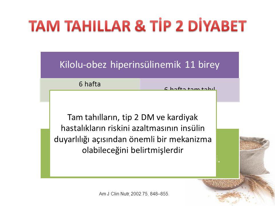 Tam tahıl tüketilen grupta açlık kan şekerinde %10'luk bir düşüş gözlendi. Kilolu-obez hiperinsülinemik 11 birey 6 hafta Beyaz ekmek içeren diyet 6 ha