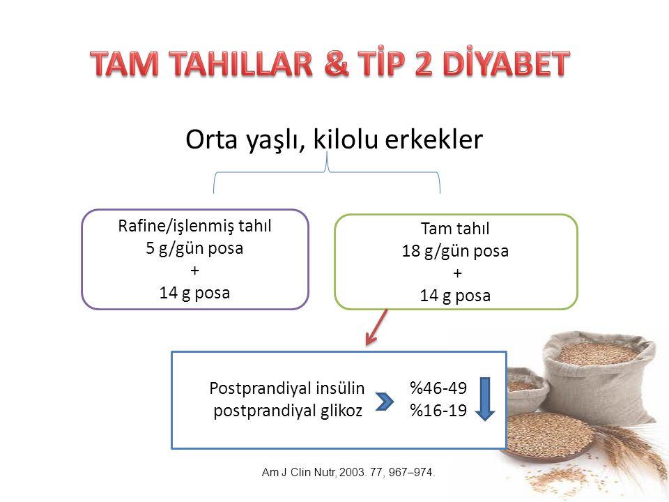 Orta yaşlı, kilolu erkekler Rafine/işlenmiş tahıl 5 g/gün posa + 14 g posa Tam tahıl 18 g/gün posa + 14 g posa Postprandiyal insülin %46-49 postprandi