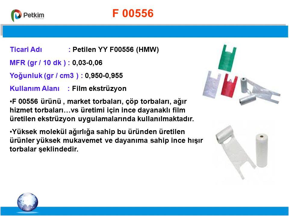 %55,8%71,5%63 F00756 Ticari Adı : Petilen YY F00756 (HMW) MFR (gr / 10 dk ) : 0,05-0,09 Yoğunluk (gr / cm3 ) : 0,949-0,954 Kullanım Alanı : Film ekstrüzyon F 00756 türü üretimine 2009 yılında lisansı MITSUI firmasından alınarak test üretimi ile başlanmış ve test üretiminin başarılı olması sonucunda seri üretimine geçilmiştir.