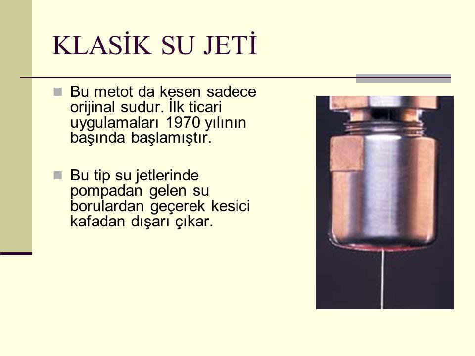KLASİK SU JETİ Bu metot da kesen sadece orijinal sudur. İlk ticari uygulamaları 1970 yılının başında başlamıştır. Bu tip su jetlerinde pompadan gelen
