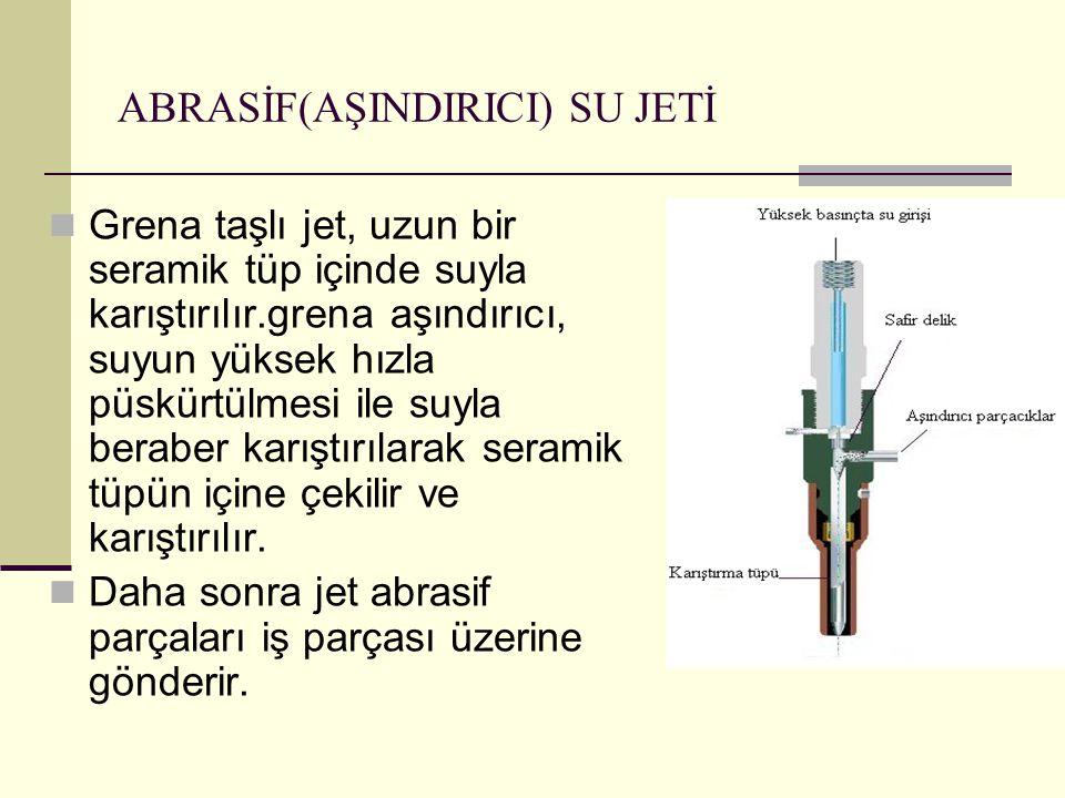 ABRASİF(AŞINDIRICI) SU JETİ Grena taşlı jet, uzun bir seramik tüp içinde suyla karıştırılır.grena aşındırıcı, suyun yüksek hızla püskürtülmesi ile suy