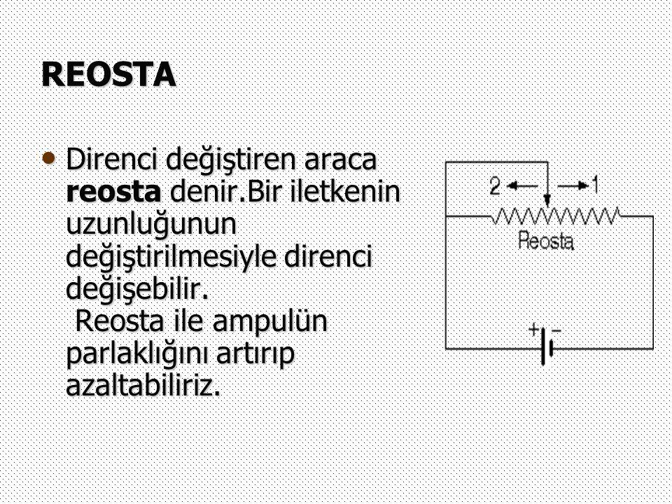REOSTA Direnci değiştiren araca reosta denir.Bir iletkenin uzunluğunun değiştirilmesiyle direnci değişebilir. Reosta ile ampulün parlaklığını artırıp