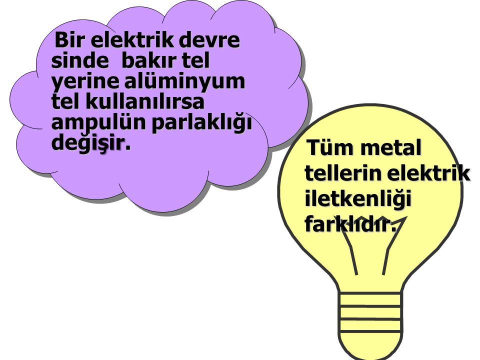 Bir elektrik devre sinde bakır tel yerine alüminyum tel kullanılırsa ampulün parlaklığı değişir. Bir elektrik devre sinde bakır tel yerine alüminyum t