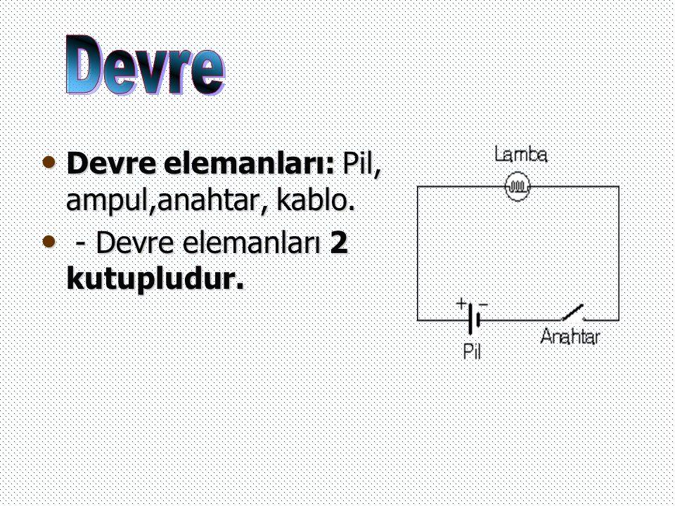Devre elemanları: Pil, ampul,anahtar, kablo. - Devre elemanları 2 kutupludur.