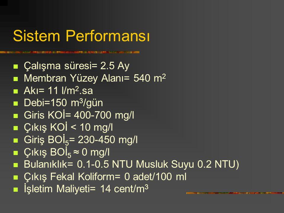 Sistem Performansı Çalışma süresi= 2.5 Ay Membran Yüzey Alanı= 540 m 2 Akı= 11 l/m 2.sa Debi=150 m 3 /gün Giris KOİ= 400-700 mg/l Çıkış KOİ < 10 mg/l Giriş BOİ 5 = 230-450 mg/l Çıkış BOİ 5 ≈ 0 mg/l Bulanıklık= 0.1-0.5 NTU Musluk Suyu 0.2 NTU) Çıkış Fekal Koliform= 0 adet/100 ml İşletim Maliyeti= 14 cent/m 3