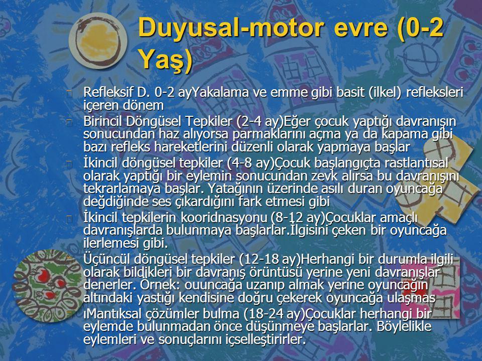 Duyusal-motor evre (0-2 Yaş) n Refleksif D. 0-2 ayYakalama ve emme gibi basit (ilkel) refleksleri içeren dönem n Birincil Döngüsel Tepkiler (2-4 ay)Eğ