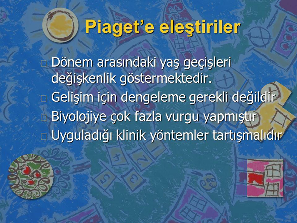 Piaget'e eleştiriler n Dönem arasındaki yaş geçişleri değişkenlik göstermektedir. n Gelişim için dengeleme gerekli değildir n Biyolojiye çok fazla vur