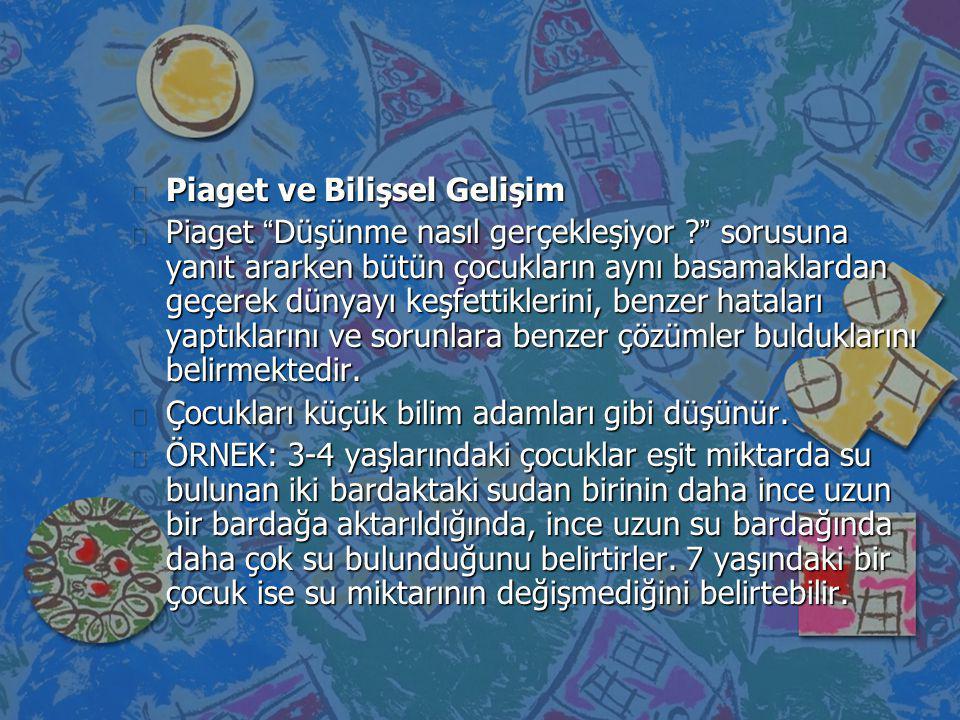 n Piaget özellikle çocukların yaptıkları yanlışlarla ilgilenmiş ve bu yanlışların tesadüfi olmadığını dşünmüştür.
