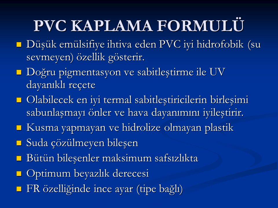 PVC KAPLAMA FORMULÜ Düşük emülsifiye ihtiva eden PVC iyi hidrofobik (su sevmeyen) özellik gösterir.