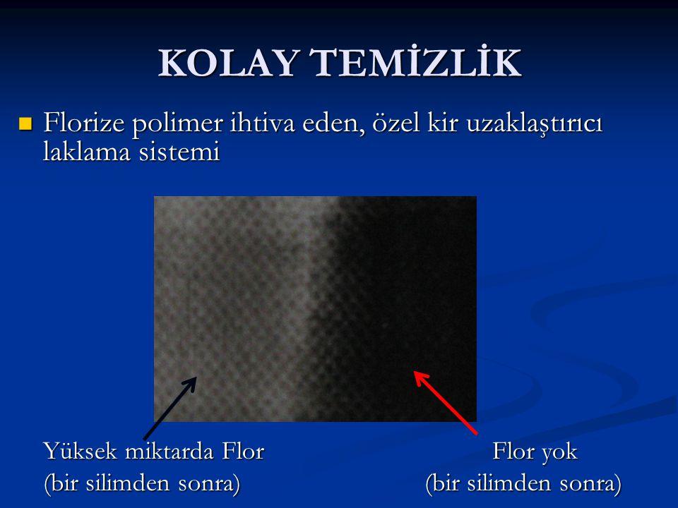 KOLAY TEMİZLİK Florize polimer ihtiva eden, özel kir uzaklaştırıcı laklama sistemi Florize polimer ihtiva eden, özel kir uzaklaştırıcı laklama sistemi Yüksek miktarda FlorFlor yok (bir silimden sonra)(bir silimden sonra)