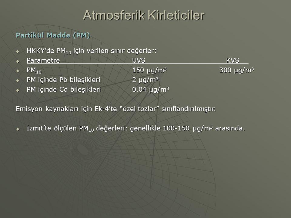 Partikül Madde (PM)  HKKY'de PM 10 için verilen sınır değerler:  ParametreUVS KVS  PM 10 150 µg/m 3 300 µg/m 3  PM içinde Pb bileşikleri2 µg/m 3 