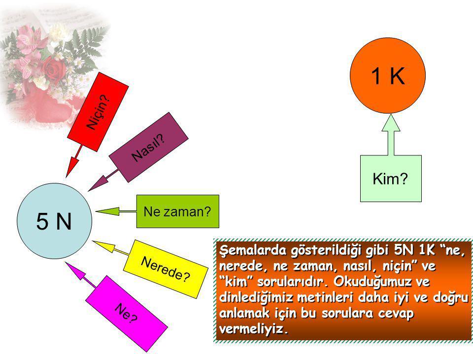 Aşağıdaki metni okuyup 5N 1K sorularına birlikte cevap verelim.