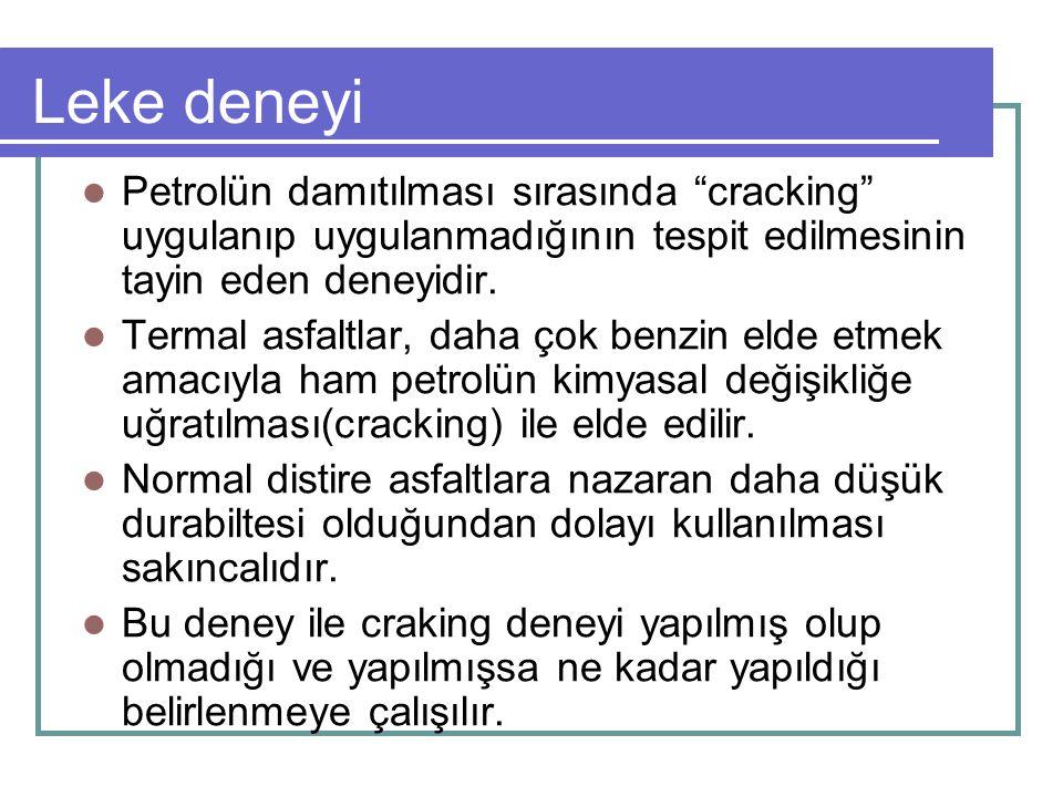 """Leke deneyi Petrolün damıtılması sırasında """"cracking"""" uygulanıp uygulanmadığının tespit edilmesinin tayin eden deneyidir. Termal asfaltlar, daha çok b"""