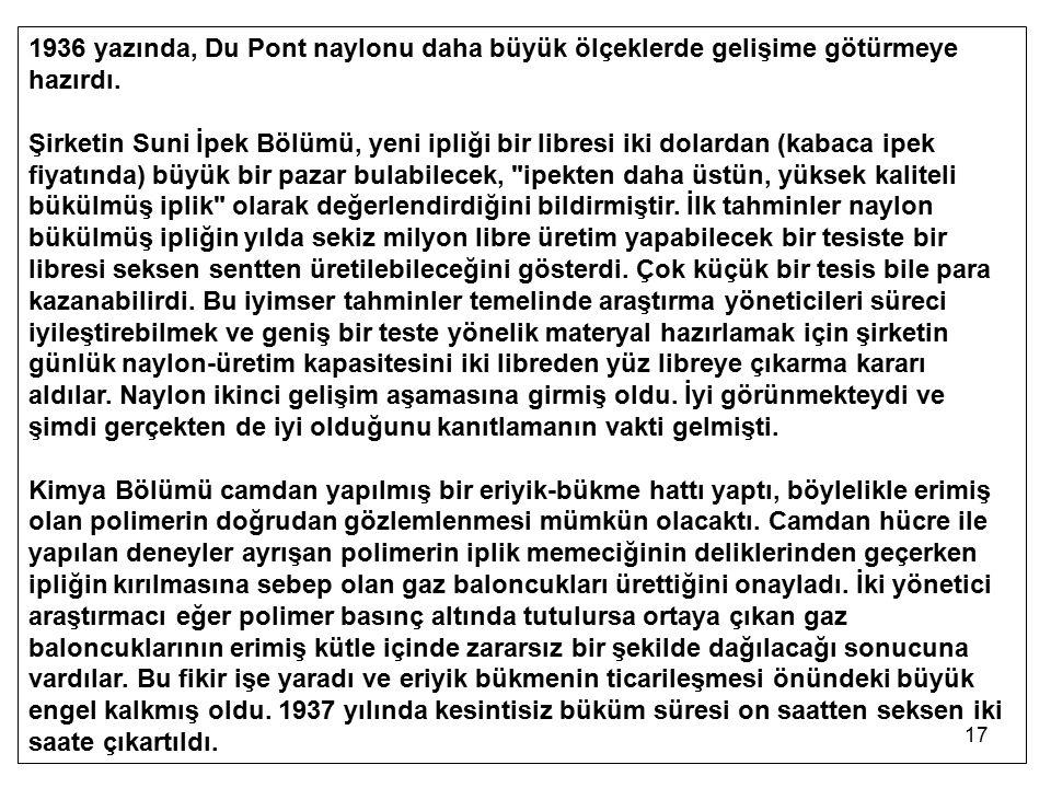 17 1936 yazında, Du Pont naylonu daha büyük ölçeklerde gelişime götürmeye hazırdı. Şirketin Suni İpek Bölümü, yeni ipliği bir libresi iki dolardan (ka