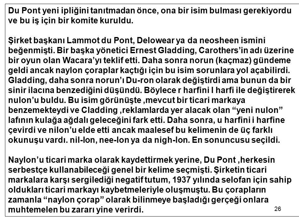 26 Du Pont yeni ipliğini tanıtmadan önce, ona bir isim bulması gerekiyordu ve bu iş için bir komite kuruldu. Şirket başkanı Lammot du Pont, Delowear y