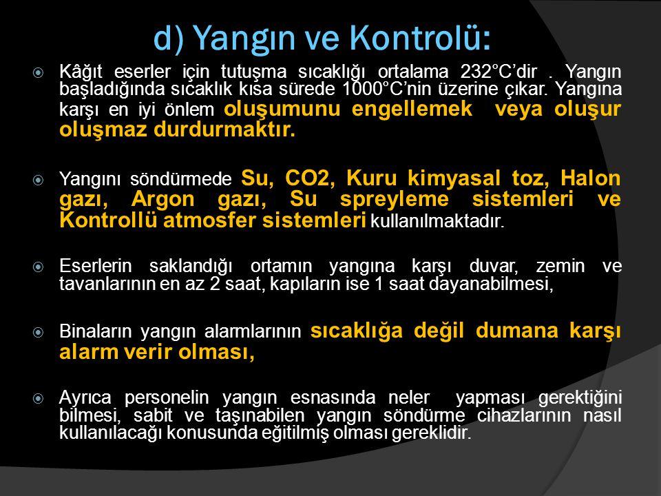 d) Yangın ve Kontrolü:  Kâğıt eserler için tutuşma sıcaklığı ortalama 232°C'dir. Yangın başladığında sıcaklık kısa sürede 1000°C'nin üzerine çıkar. Y