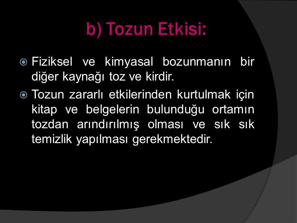 b) Tozun Etkisi:  Fiziksel ve kimyasal bozunmanın bir diğer kaynağı toz ve kirdir.  Tozun zararlı etkilerinden kurtulmak için kitap ve belgelerin bu