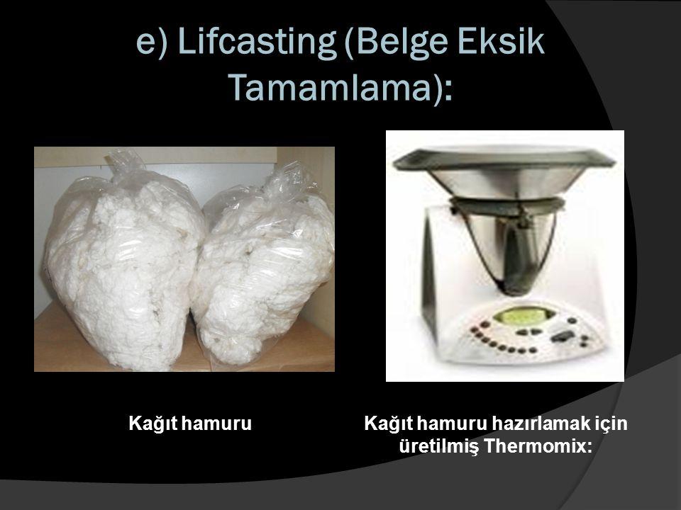 e) Lifcasting (Belge Eksik Tamamlama): Kağıt hamuruKağıt hamuru hazırlamak için üretilmiş Thermomix: