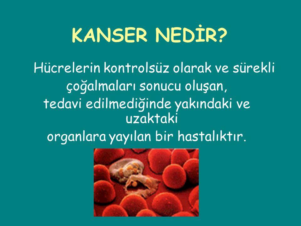 Tümörün kan dolaşım sistemi ile diğer organlara hücum etmesi KANSER OLUŞUMU Etkenler ile hücrenin anormal çoğalması Normal hücre Tümörün kan dolaşımı sisteminden beslenmesi