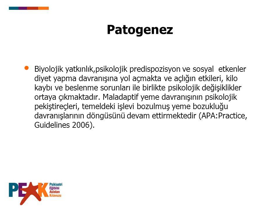 Patogenez 3-Nörobiyoloji: Connan ve ark (2006) düşük kilolu anoreksiya nervoza olan hastalarda yaptığı MRI çalışmasında hipokampal hacimde bilateral azalma (%8.2 sağ, %7.5 sol) saptamıştır.