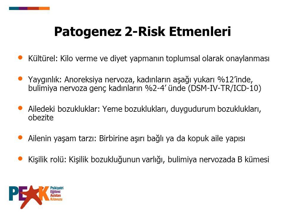 Patogenez 2-Risk Etmenleri Kültürel: Kilo verme ve diyet yapmanın toplumsal olarak onaylanması Yaygınlık: Anoreksiya nervoza, kadınların aşağı yukarı