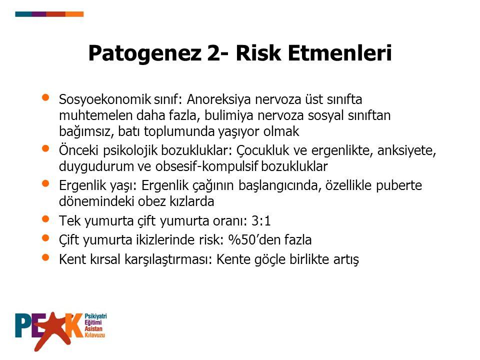 Patogenez 2- Risk Etmenleri Sosyoekonomik sınıf: Anoreksiya nervoza üst sınıfta muhtemelen daha fazla, bulimiya nervoza sosyal sınıftan bağımsız, batı