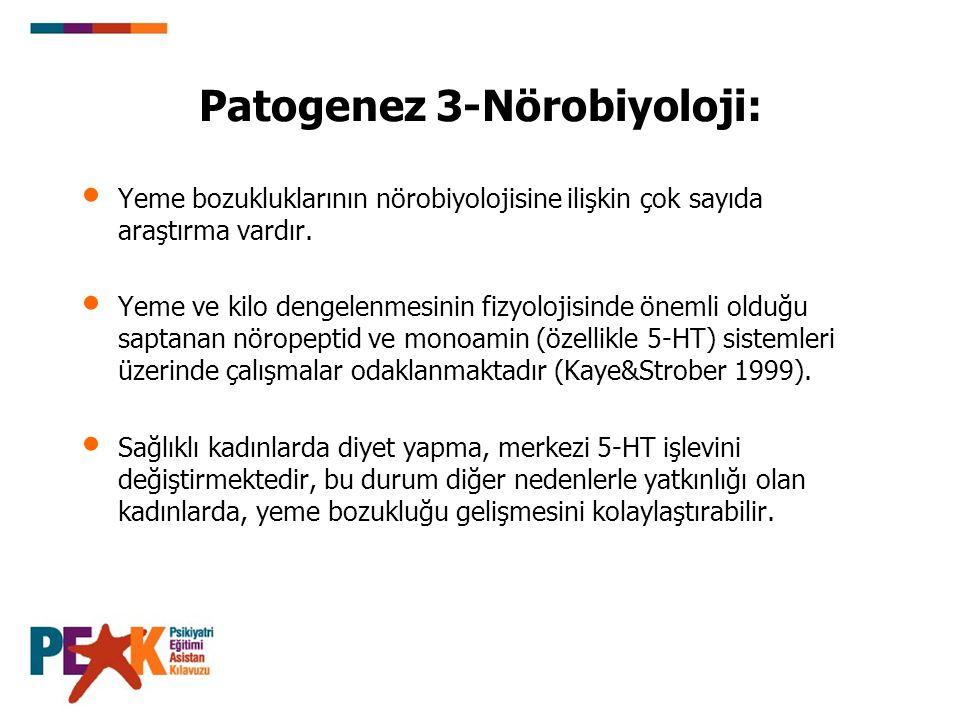 Patogenez 3-Nörobiyoloji: Yeme bozukluklarının nörobiyolojisine ilişkin çok sayıda araştırma vardır. Yeme ve kilo dengelenmesinin fizyolojisinde öneml