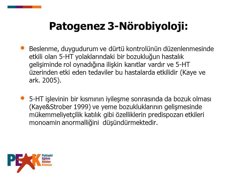 Patogenez 3-Nörobiyoloji: Beslenme, duygudurum ve dürtü kontrolünün düzenlenmesinde etkili olan 5-HT yolaklarındaki bir bozukluğun hastalık gelişimind