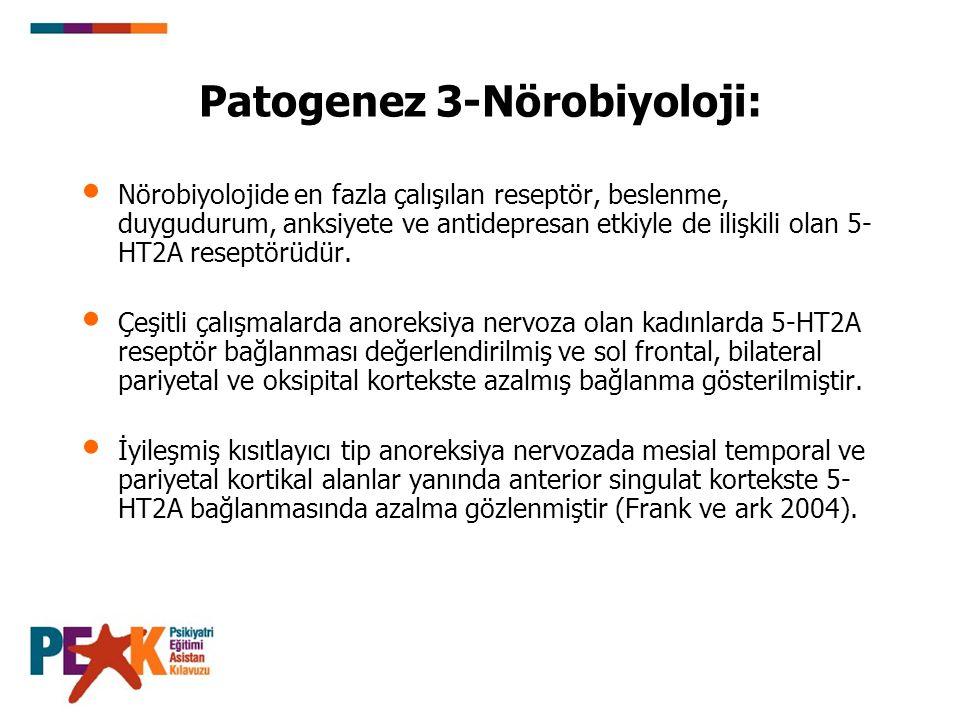 Patogenez 3-Nörobiyoloji: Nörobiyolojide en fazla çalışılan reseptör, beslenme, duygudurum, anksiyete ve antidepresan etkiyle de ilişkili olan 5- HT2A