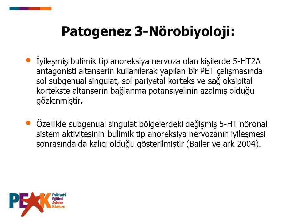 Patogenez 3-Nörobiyoloji: İyileşmiş bulimik tip anoreksiya nervoza olan kişilerde 5-HT2A antagonisti altanserin kullanılarak yapılan bir PET çalışması