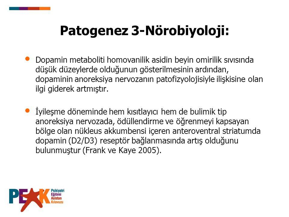 Patogenez 3-Nörobiyoloji: Dopamin metaboliti homovanilik asidin beyin omirilik sıvısında düşük düzeylerde olduğunun gösterilmesinin ardından, dopamini