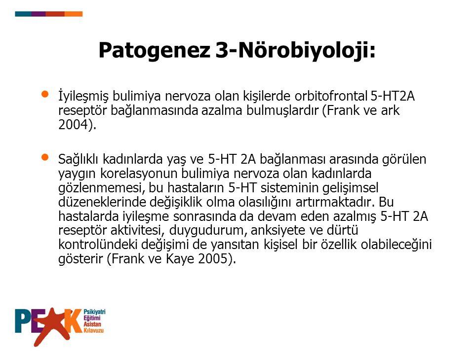 Patogenez 3-Nörobiyoloji: İyileşmiş bulimiya nervoza olan kişilerde orbitofrontal 5-HT2A reseptör bağlanmasında azalma bulmuşlardır (Frank ve ark 2004