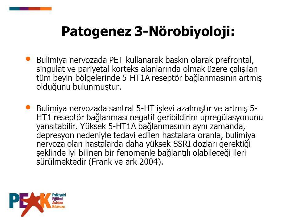 Patogenez 3-Nörobiyoloji: Bulimiya nervozada PET kullanarak baskın olarak prefrontal, singulat ve pariyetal korteks alanlarında olmak üzere çalışılan