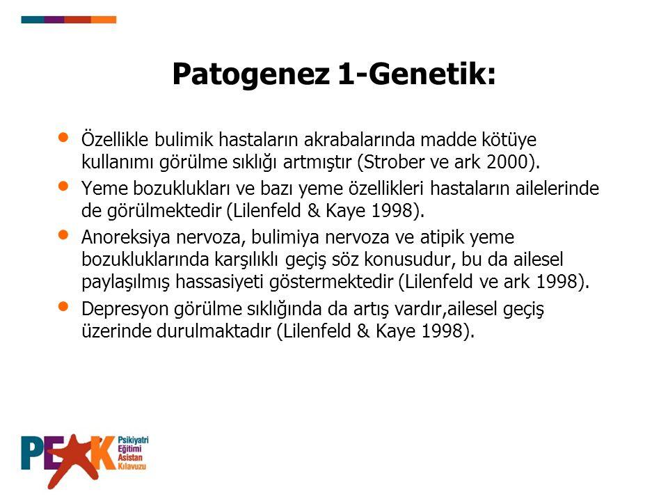 Patogenez 1-Genetik: Özellikle bulimik hastaların akrabalarında madde kötüye kullanımı görülme sıklığı artmıştır (Strober ve ark 2000). Yeme bozuklukl