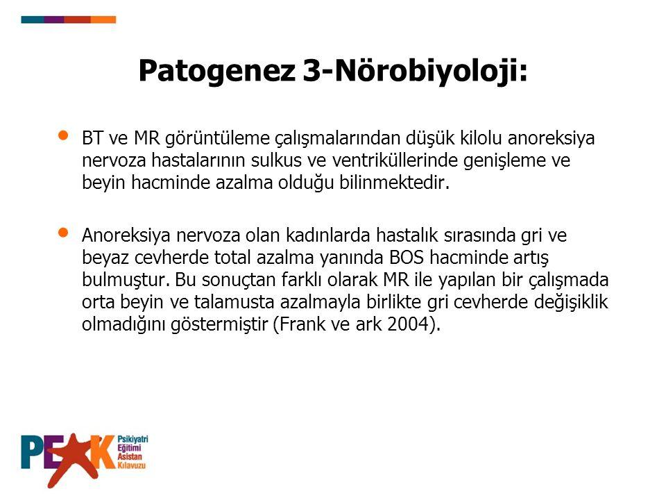 Patogenez 3-Nörobiyoloji: BT ve MR görüntüleme çalışmalarından düşük kilolu anoreksiya nervoza hastalarının sulkus ve ventriküllerinde genişleme ve be