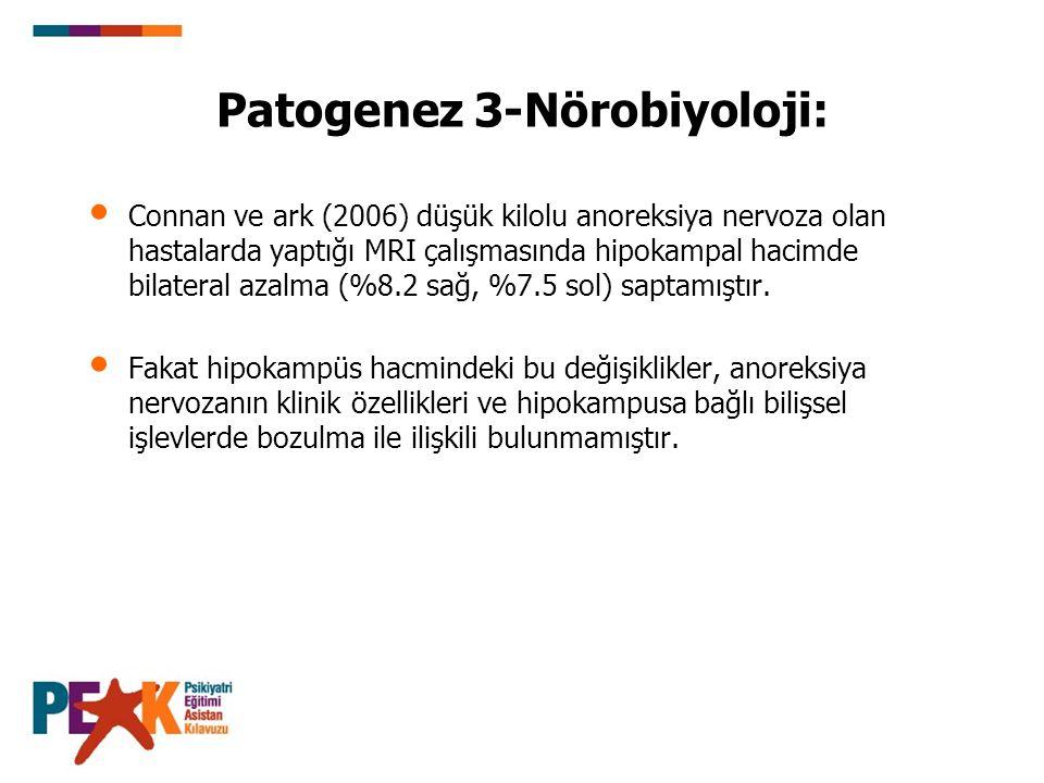 Patogenez 3-Nörobiyoloji: Connan ve ark (2006) düşük kilolu anoreksiya nervoza olan hastalarda yaptığı MRI çalışmasında hipokampal hacimde bilateral a