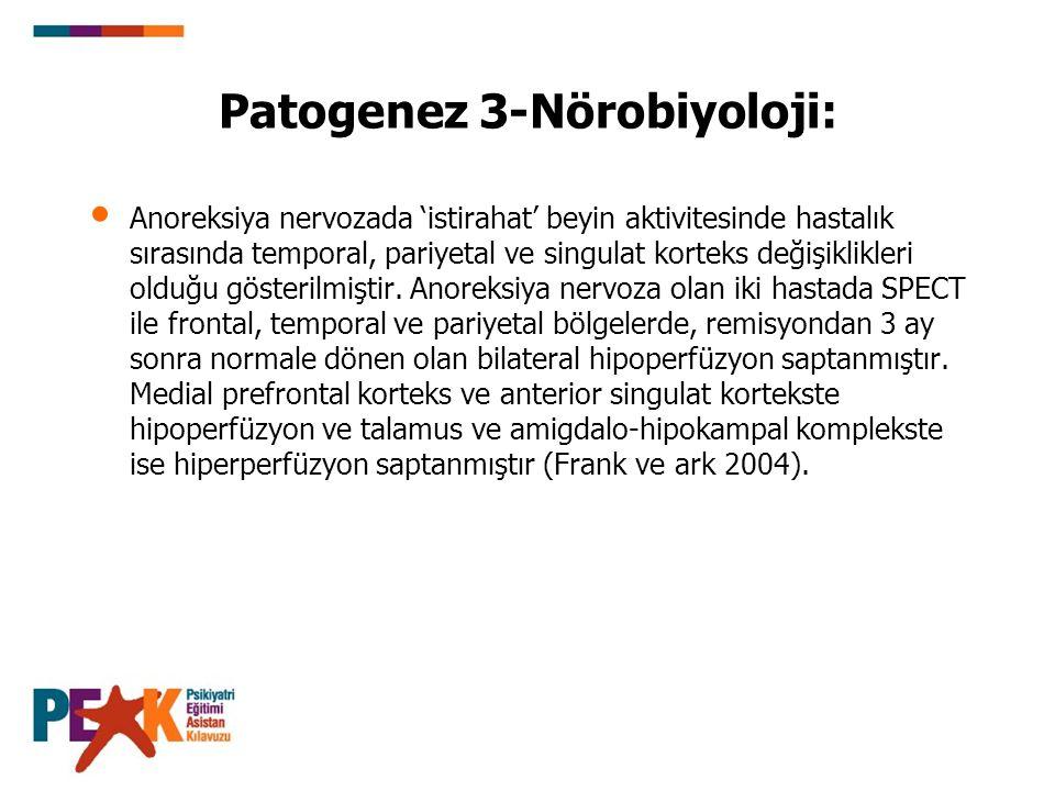Patogenez 3-Nörobiyoloji: Anoreksiya nervozada 'istirahat' beyin aktivitesinde hastalık sırasında temporal, pariyetal ve singulat korteks değişiklikle