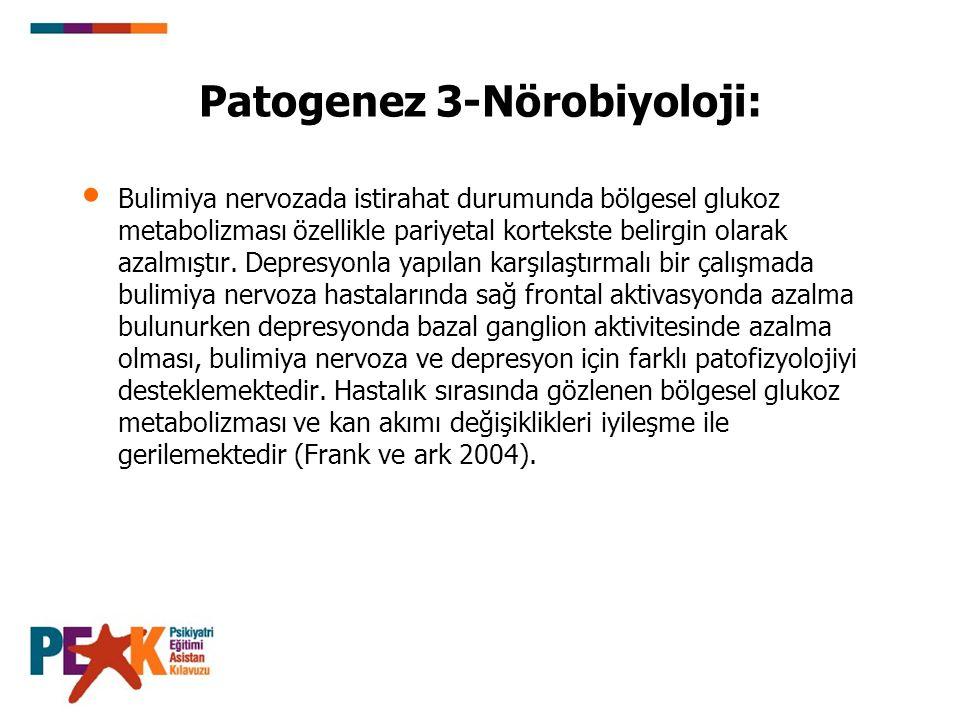 Patogenez 3-Nörobiyoloji: Bulimiya nervozada istirahat durumunda bölgesel glukoz metabolizması özellikle pariyetal kortekste belirgin olarak azalmıştı
