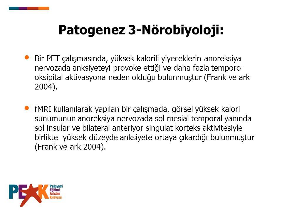 Patogenez 3-Nörobiyoloji: Bir PET çalışmasında, yüksek kalorili yiyeceklerin anoreksiya nervozada anksiyeteyi provoke ettiği ve daha fazla temporo- ok