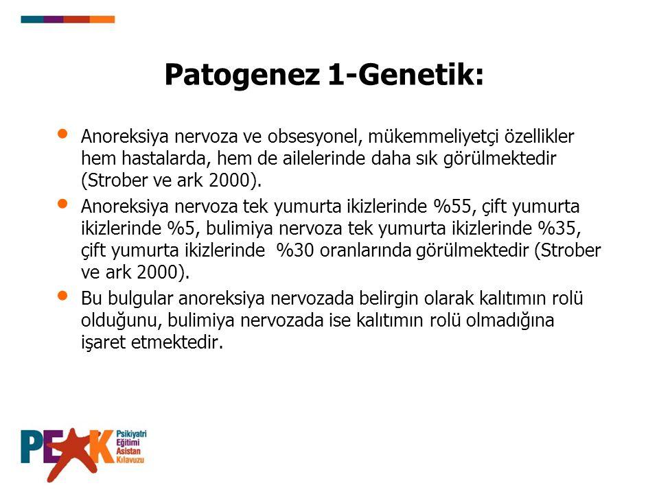 Patogenez 3-Nörobiyoloji: Beslenme, duygudurum ve dürtü kontrolünün düzenlenmesinde etkili olan 5-HT yolaklarındaki bir bozukluğun hastalık gelişiminde rol oynadığına ilişkin kanıtlar vardır ve 5-HT üzerinden etki eden tedaviler bu hastalarda etkilidir (Kaye ve ark.