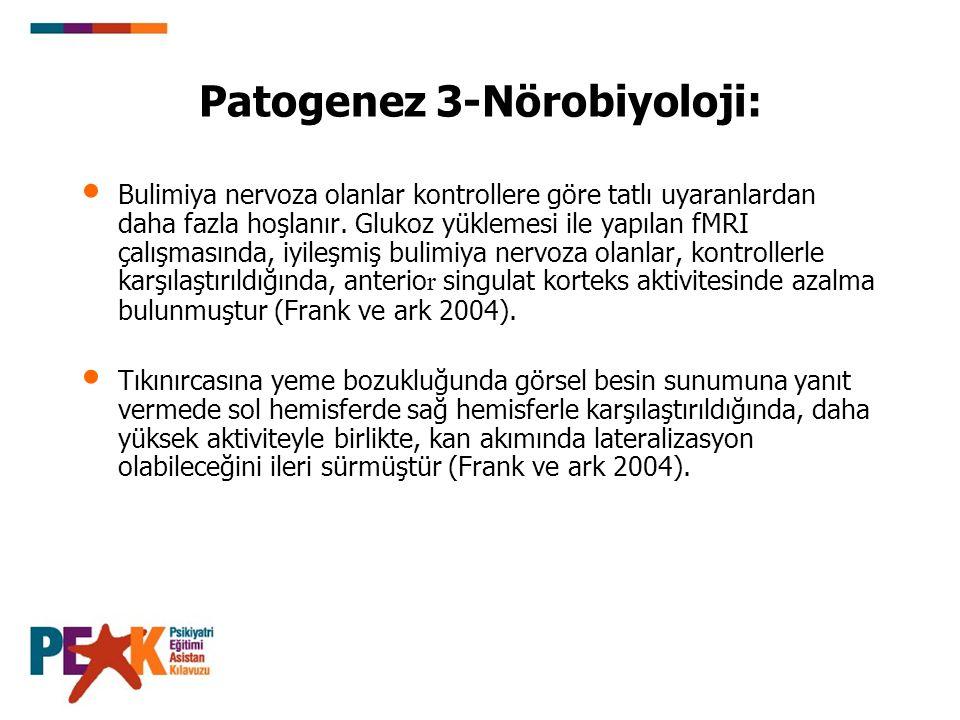 Patogenez 3-Nörobiyoloji: Bulimiya nervoza olanlar kontrollere göre tatlı uyaranlardan daha fazla hoşlanır. Glukoz yüklemesi ile yapılan fMRI çalışmas