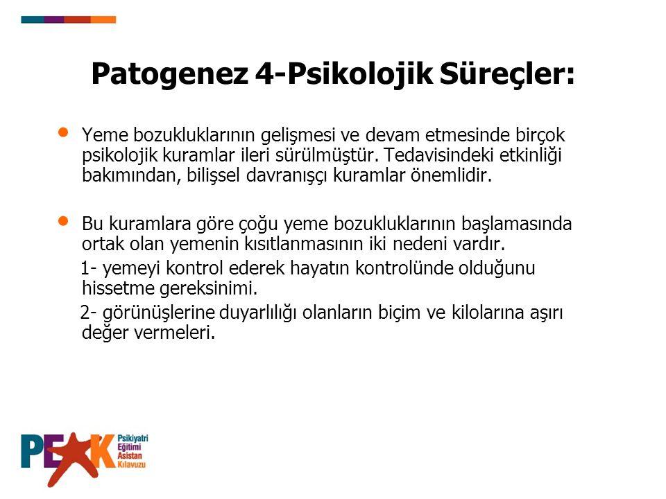 Patogenez 4-Psikolojik Süreçler: Yeme bozukluklarının gelişmesi ve devam etmesinde birçok psikolojik kuramlar ileri sürülmüştür. Tedavisindeki etkinli