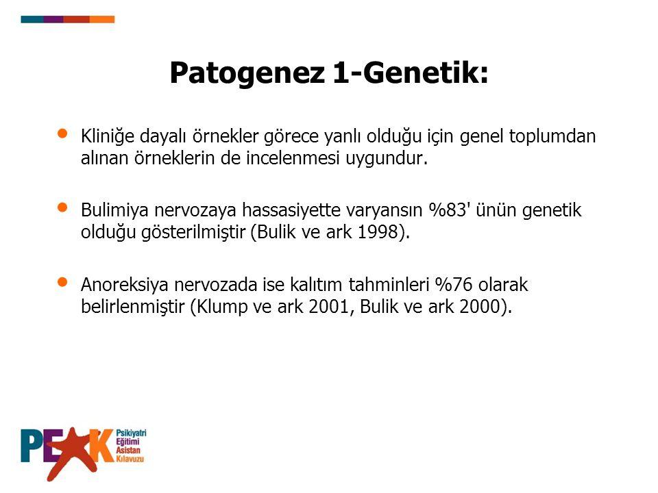 Patogenez 1-Genetik: Kliniğe dayalı örnekler görece yanlı olduğu için genel toplumdan alınan örneklerin de incelenmesi uygundur. Bulimiya nervozaya ha