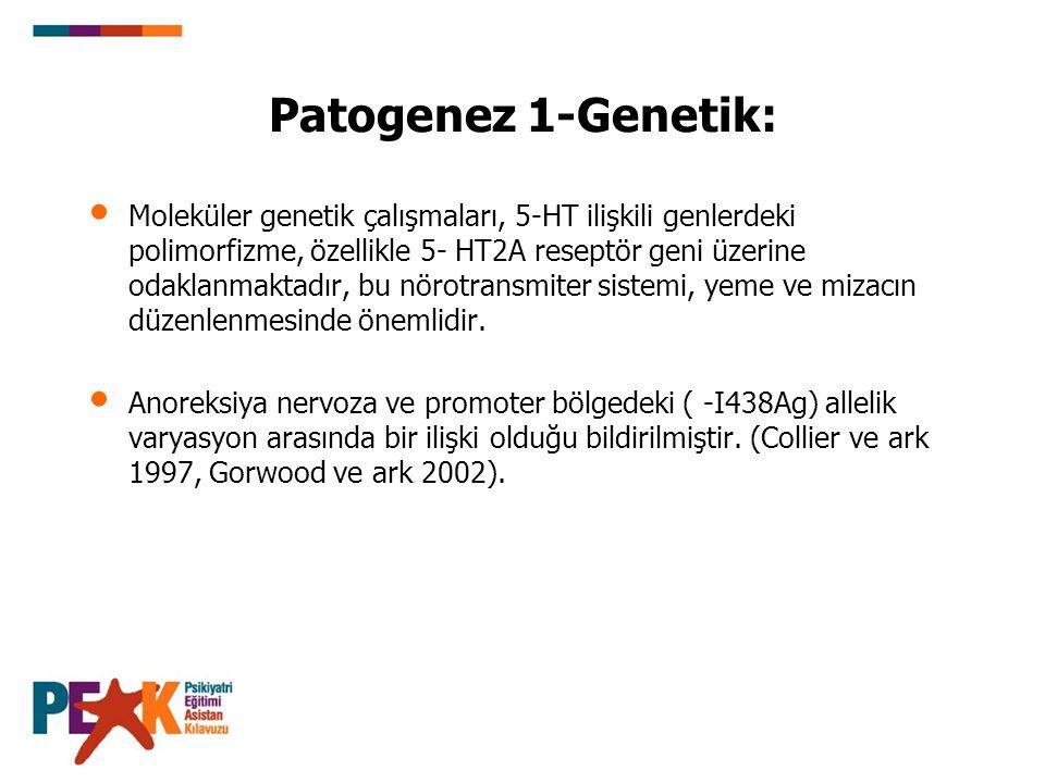 Patogenez 1-Genetik: Başka polimorfizmler de araştırılmış, ancak yeme bozukluklarıyla bağlantıları replike edilememiş, yada aile çalışması yada meta- analizde doğrulanmamıştır (Hinney ve ark 2000).