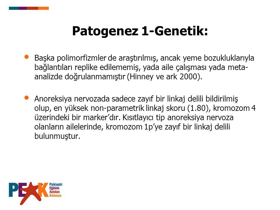 Patogenez 1-Genetik: Başka polimorfizmler de araştırılmış, ancak yeme bozukluklarıyla bağlantıları replike edilememiş, yada aile çalışması yada meta-
