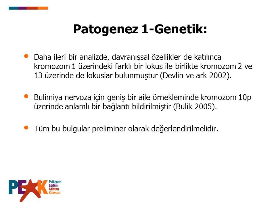 Patogenez 1-Genetik: Daha ileri bir analizde, davranışsal özellikler de katılınca kromozom 1 üzerindeki farklı bir lokus ile birlikte kromozom 2 ve 13