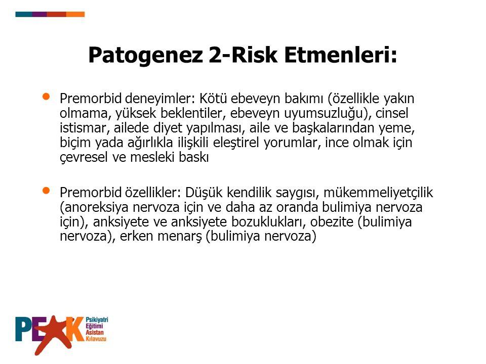 Patogenez 2-Risk Etmenleri: Premorbid deneyimler: Kötü ebeveyn bakımı (özellikle yakın olmama, yüksek beklentiler, ebeveyn uyumsuzluğu), cinsel istism