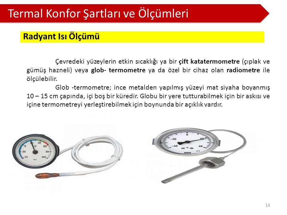 Termal Konfor Şartları ve Ölçümleri Çevredeki yüzeylerin etkin sıcaklığı ya bir çift katatermometre (çıplak ve gümüş hazneli) veya glob- termometre ya